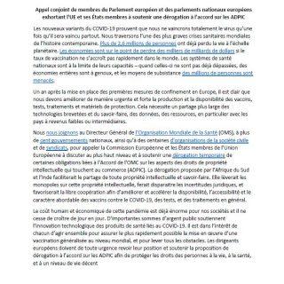 Lever les brevets sur les vaccins, tests et médicaments
